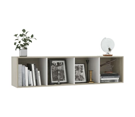 """vidaXL Book Cabinet/TV Cabinet White and Sonoma Oak 56.3""""x11.8""""x14.2""""[5/6]"""