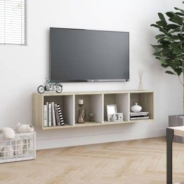 """vidaXL Book Cabinet/TV Cabinet White and Sonoma Oak 56.3""""x11.8""""x14.2""""[4/6]"""