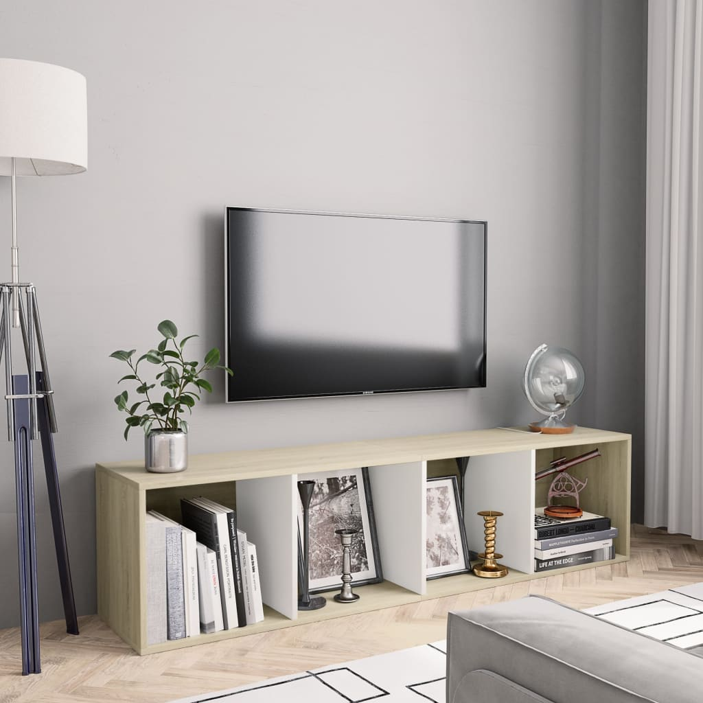 vidaXL Bibliotecă/Comodă TV, alb & stejar Sonoma, 143 x 30 x 36 cm poza 2021 vidaXL