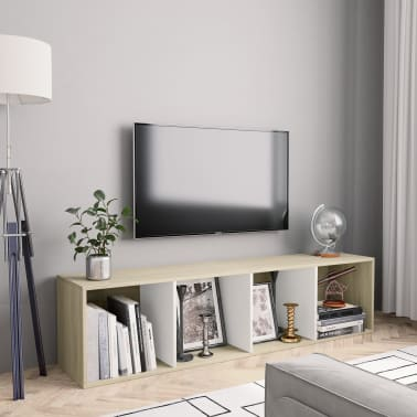 """vidaXL Book Cabinet/TV Cabinet White and Sonoma Oak 56.3""""x11.8""""x14.2""""[1/6]"""