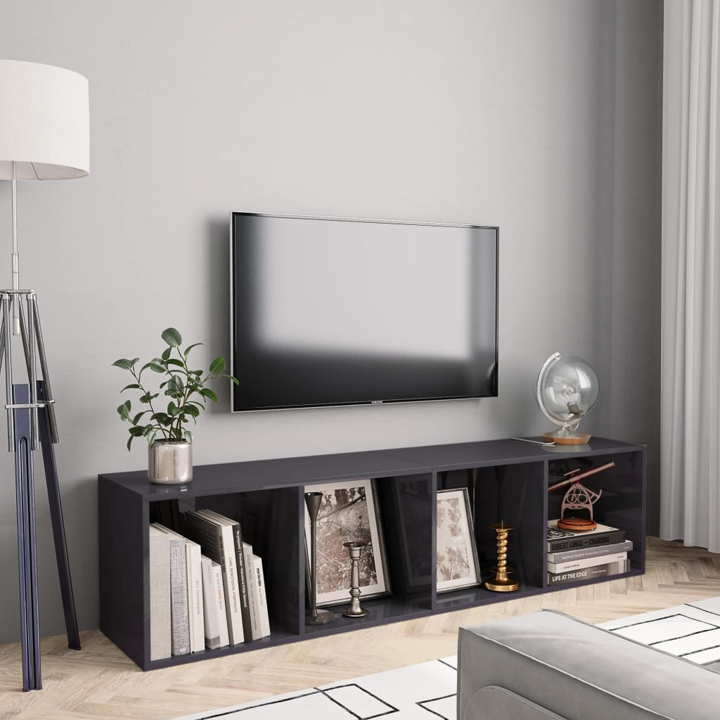 vidaXL Bibliotecă/Comodă TV, gri extralucios, 143 x 30 x 36 cm poza 2021 vidaXL