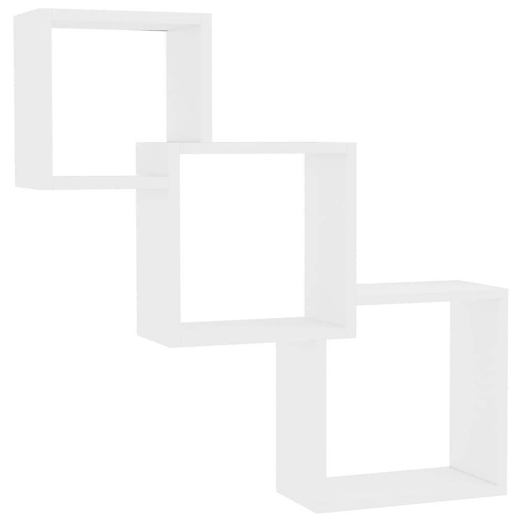 vidaXL Ράφια Κύβοι Τοίχου Λευκά 84,5 x 15 x 27 εκ. από Μοριοσανίδα