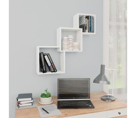 "vidaXL Cube Wall Shelves White 33.3""x5.9""x10.6"" Chipboard[1/6]"