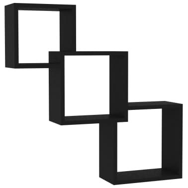 "vidaXL Cube Wall Shelves Black 33.3""x5.9""x10.6"" Chipboard[2/6]"