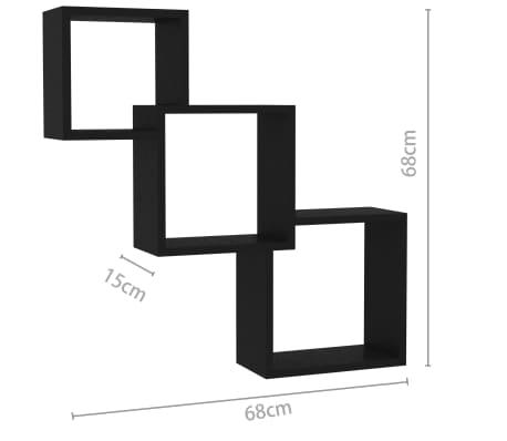 "vidaXL Cube Wall Shelves Black 33.3""x5.9""x10.6"" Chipboard[6/6]"