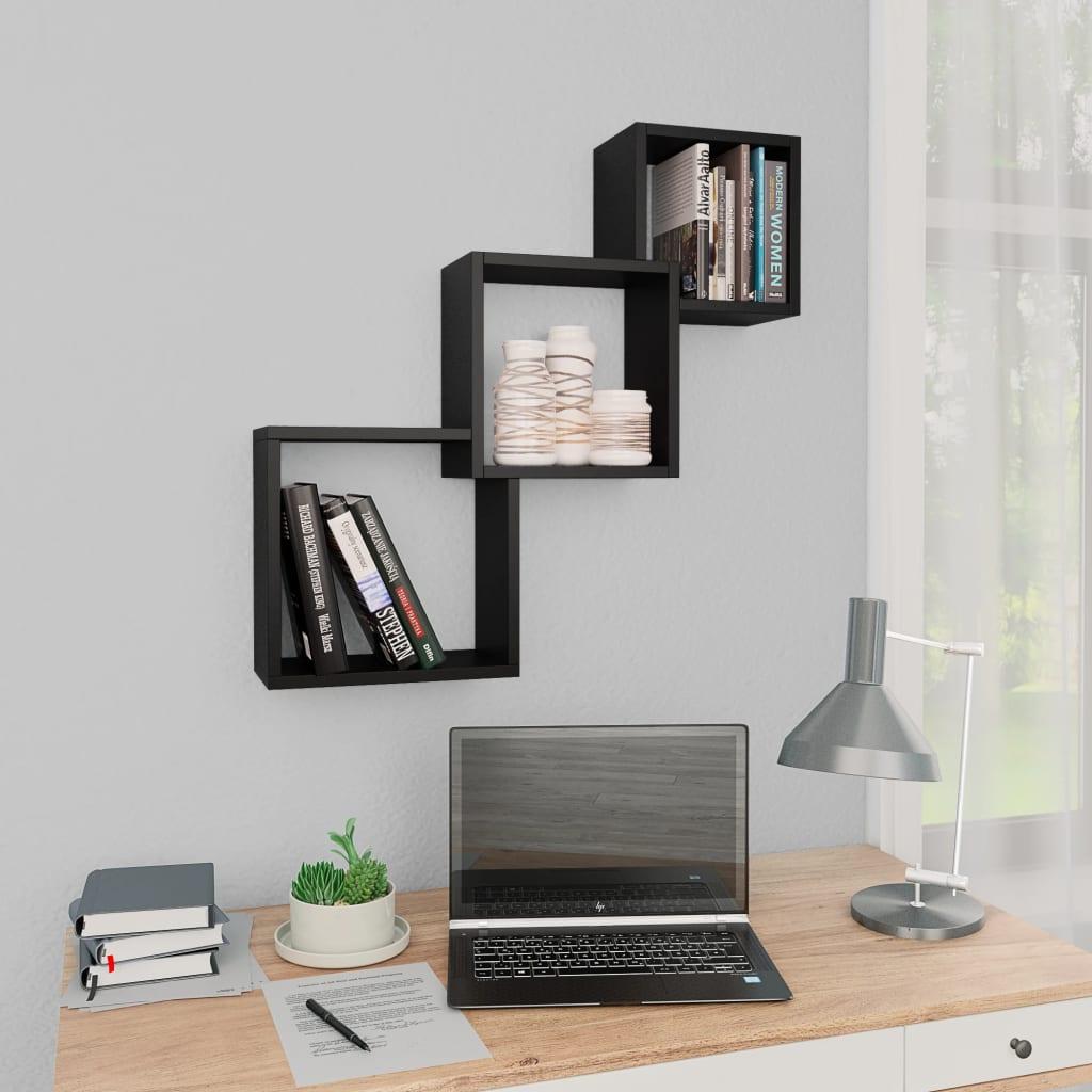 vidaXL Rafturi de perete, cub, negru, 84,5 x 15 x 27 cm, PAL vidaxl.ro