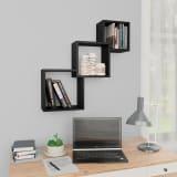 "vidaXL Cube Wall Shelves Black 33.3""x5.9""x10.6"" Chipboard"