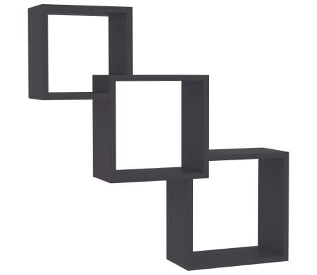 "vidaXL Cube Wall Shelves Gray 33.3""x5.9""x10.6"" Chipboard"