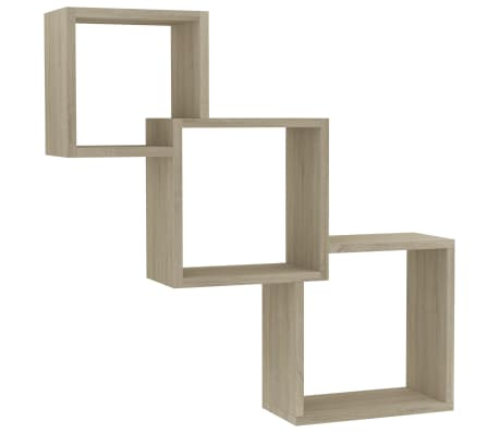 "vidaXL Cube Wall Shelves Sonoma Oak 33.3""x5.9""x10.6"" Chipboard"