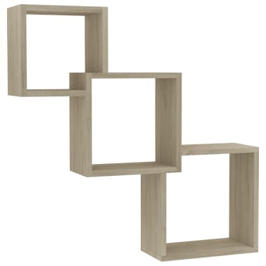"vidaXL Cube Wall Shelves Sonoma Oak 33.3""x5.9""x10.6"" Chipboard[2/6]"