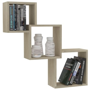 "vidaXL Cube Wall Shelves Sonoma Oak 33.3""x5.9""x10.6"" Chipboard[3/6]"