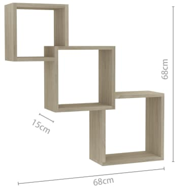 "vidaXL Cube Wall Shelves Sonoma Oak 33.3""x5.9""x10.6"" Chipboard[6/6]"