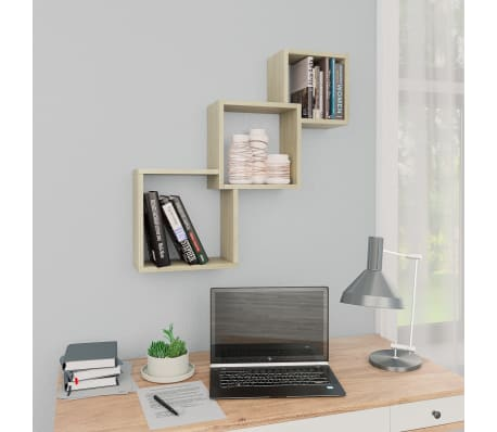 "vidaXL Cube Wall Shelves Sonoma Oak 33.3""x5.9""x10.6"" Chipboard[1/6]"