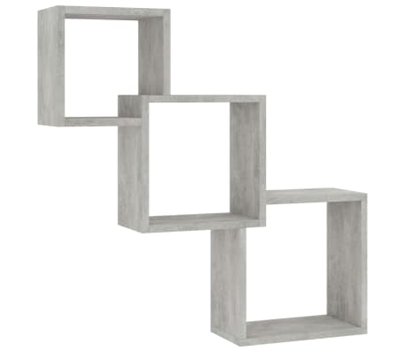 "vidaXL Cube Wall Shelves Concrete Gray 33.3""x5.9""x10.6"" Chipboard"