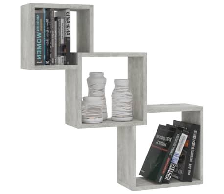 "vidaXL Cube Wall Shelves Concrete Gray 33.3""x5.9""x10.6"" Chipboard[3/6]"