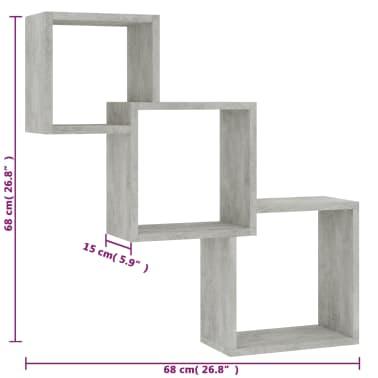 "vidaXL Cube Wall Shelves Concrete Gray 33.3""x5.9""x10.6"" Chipboard[6/6]"