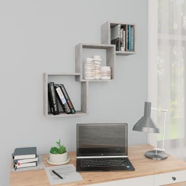 "vidaXL Cube Wall Shelves Concrete Gray 33.3""x5.9""x10.6"" Chipboard[1/6]"