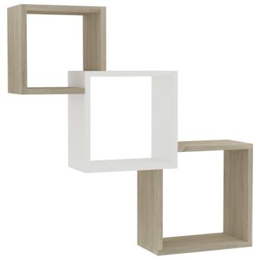 "vidaXL Cube Wall Shelves White and Sonoma Oak 33.3""x5.9""x10.6"" Chipboard[2/6]"