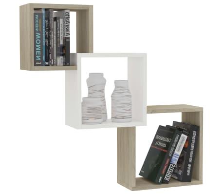 "vidaXL Cube Wall Shelves White and Sonoma Oak 33.3""x5.9""x10.6"" Chipboard[3/6]"