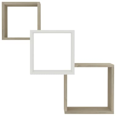 "vidaXL Cube Wall Shelves White and Sonoma Oak 33.3""x5.9""x10.6"" Chipboard[4/6]"