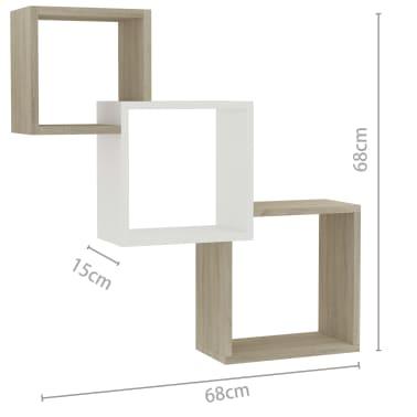 "vidaXL Cube Wall Shelves White and Sonoma Oak 33.3""x5.9""x10.6"" Chipboard[6/6]"