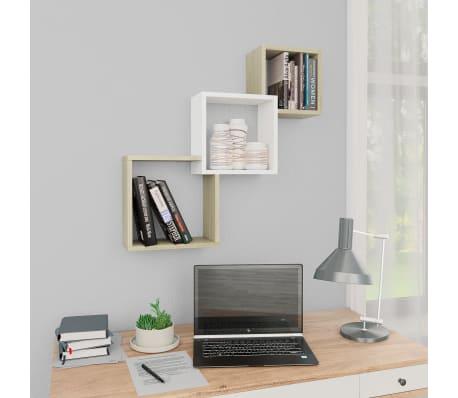 "vidaXL Cube Wall Shelves White and Sonoma Oak 33.3""x5.9""x10.6"" Chipboard[1/6]"