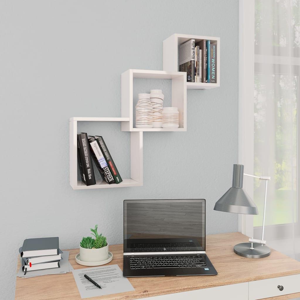 vidaXL Rafturi de perete, cub, alb lucios, 84,5 x 15 x 27 cm, PAL vidaxl.ro