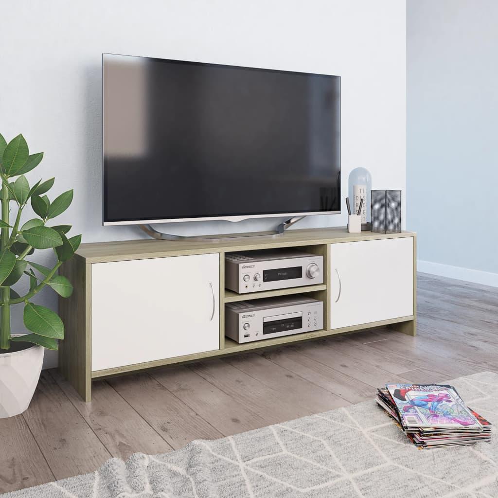 vidaXL fehér és sonoma színű forgácslap TV-szekrény 120 x 30 x 37,5 cm