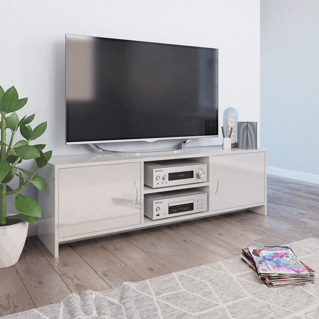 vidaXL Comodă TV, alb lucios, 120 x 30 x 37,5 cm, PAL poza 2021 vidaXL
