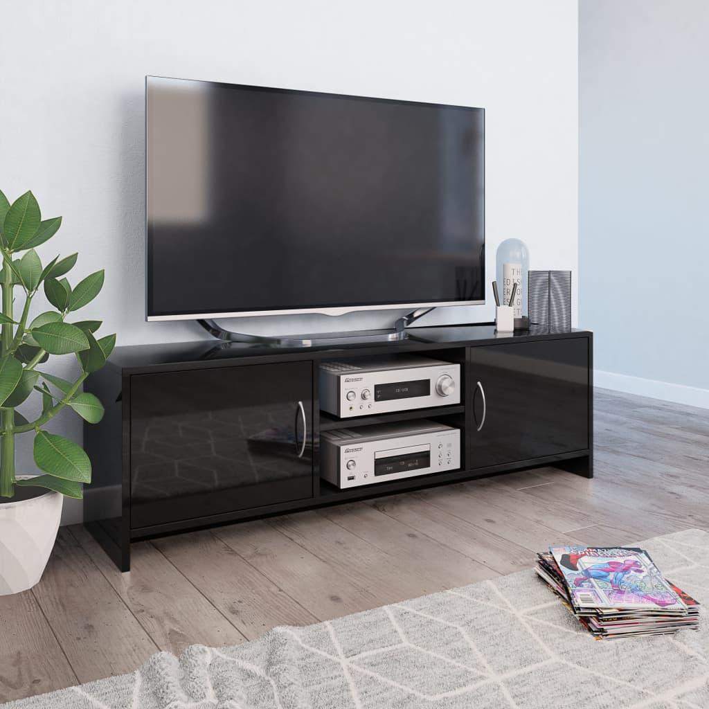 vidaXL Comodă TV, negru extralucios, 120 x 30 x 37,5 cm, PAL poza vidaxl.ro