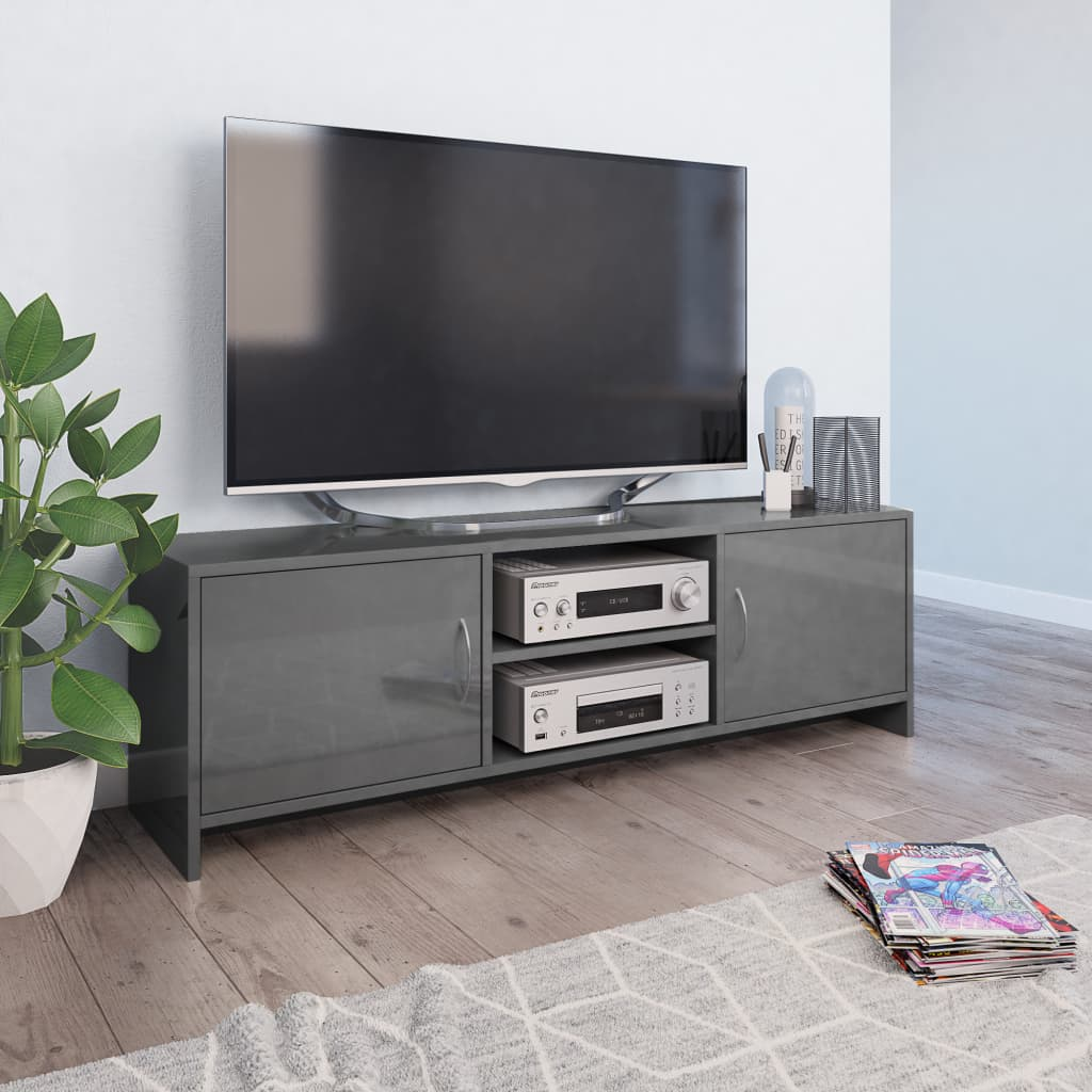 TV stolek šedý s vysokým leskem 120 x 30 x 37,5 cm dřevotříska