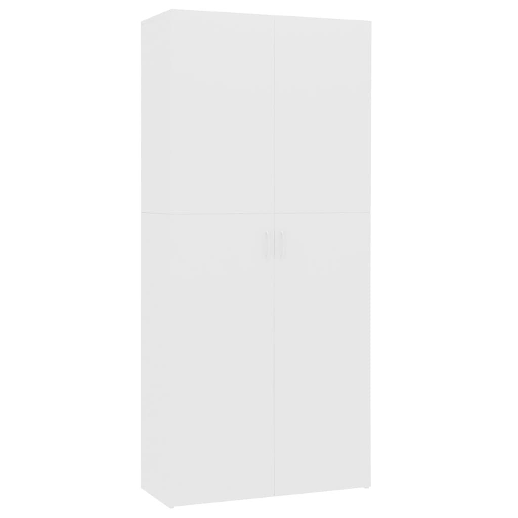 vidaXL Παπουτσοθήκη Λευκή 80 x 35,5 x 180 εκ. από Μοριοσανίδα