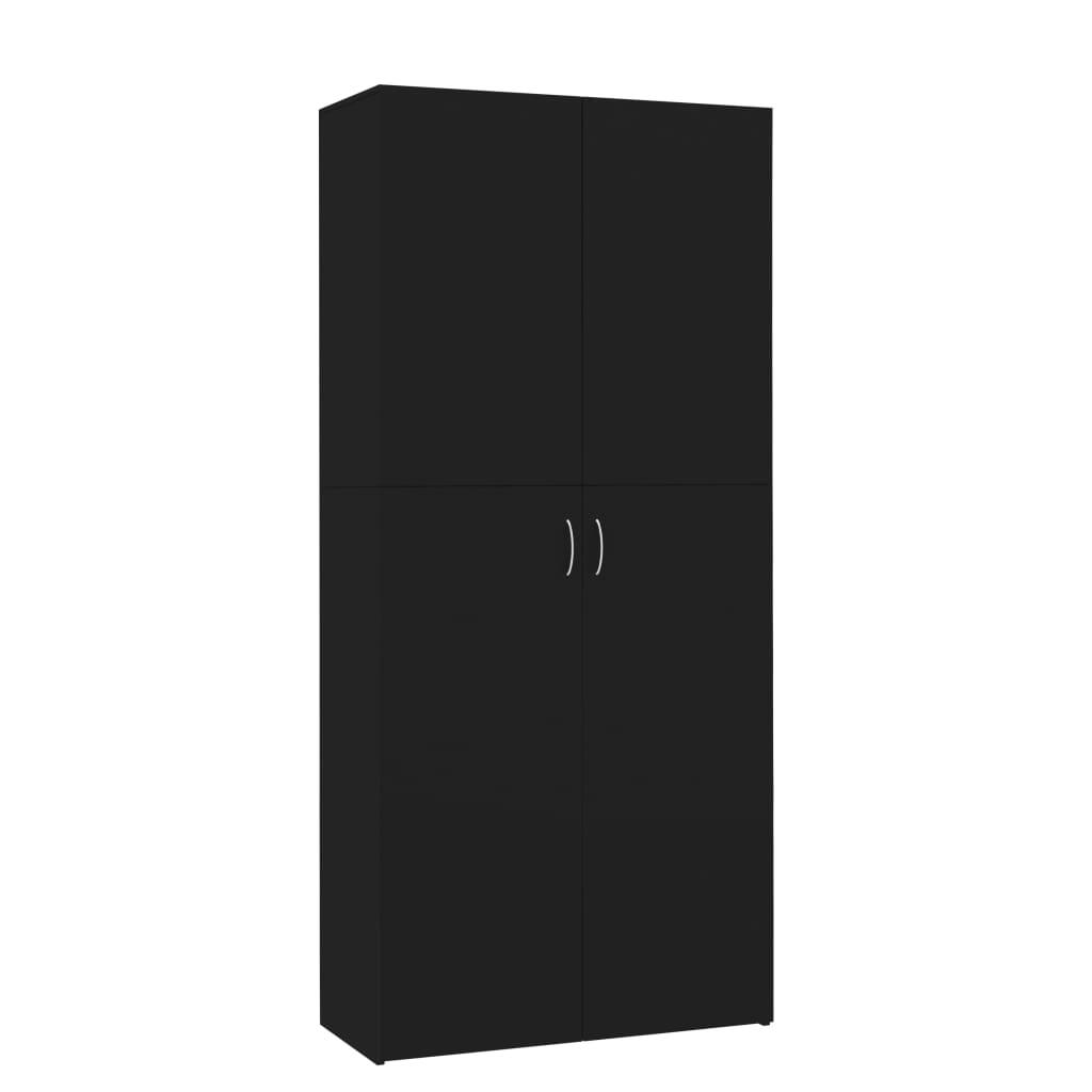 vidaXL Παπουτσοθήκη Μαύρη 80 x 35,5 x 180 εκ. από Μοριοσανίδα