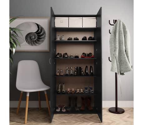 "vidaXL Shoe Cabinet Black 31.5""x14""x70.9"" Chipboard[3/8]"