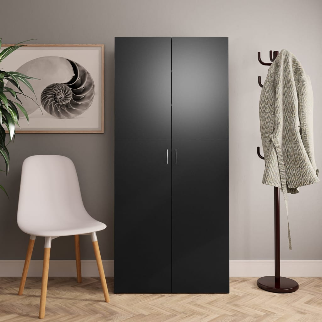 vidaXL Pantofar, negru, 80 x 35,5 x 180 cm, PAL poza vidaxl.ro