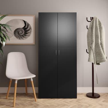 "vidaXL Shoe Cabinet Black 31.5""x14""x70.9"" Chipboard[1/8]"