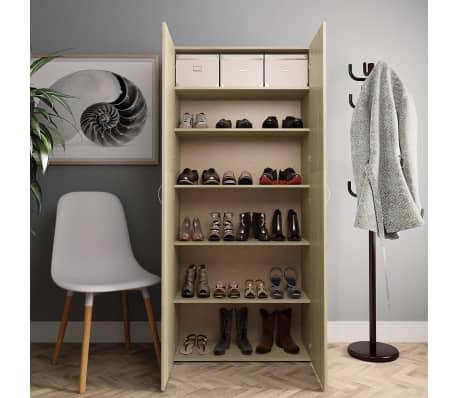 """vidaXL Shoe Cabinet Sonoma Oak 31.5""""x14""""x70.9"""" Chipboard[3/8]"""