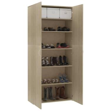 """vidaXL Shoe Cabinet Sonoma Oak 31.5""""x14""""x70.9"""" Chipboard[7/8]"""