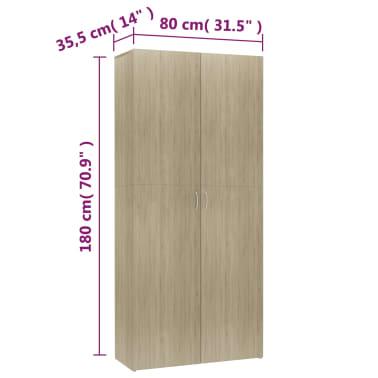 """vidaXL Shoe Cabinet Sonoma Oak 31.5""""x14""""x70.9"""" Chipboard[8/8]"""