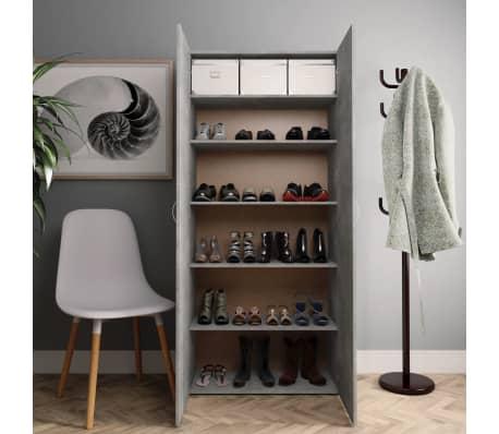 "vidaXL Shoe Cabinet Concrete Gray 31.5""x14""x70.9"" Chipboard[3/8]"