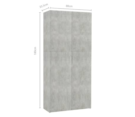 "vidaXL Shoe Cabinet Concrete Gray 31.5""x14""x70.9"" Chipboard[8/8]"