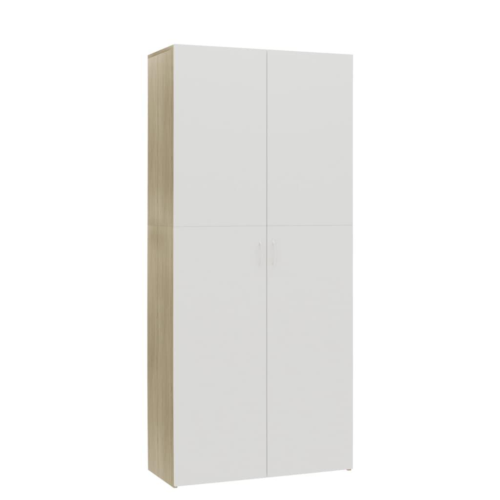 vidaXL Παπουτσοθήκη Λευκή / Sonoma Δρυς 80×35,5×180 εκ. Μοριοσανίδα
