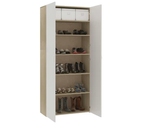 "vidaXL Shoe Cabinet White and Sonoma Oak 31.5""x14""x70.9"" Chipboard[7/8]"