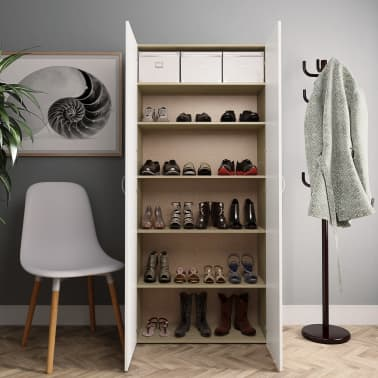 "vidaXL Shoe Cabinet White and Sonoma Oak 31.5""x14""x70.9"" Chipboard[3/8]"