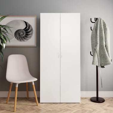 "vidaXL Shoe Cabinet White and Sonoma Oak 31.5""x14""x70.9"" Chipboard[1/8]"