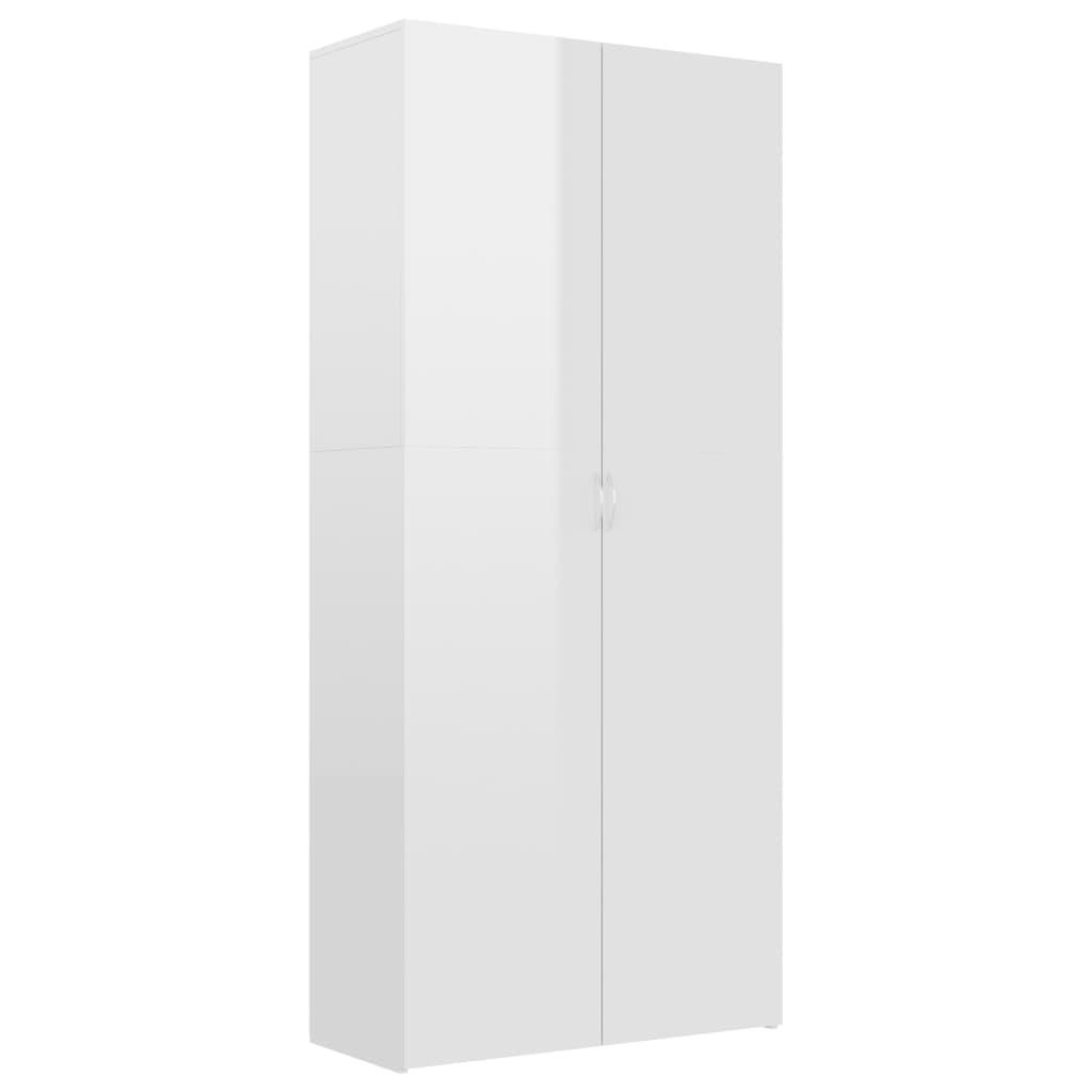 vidaXL Παπουτσοθήκη Γυαλιστερό Λευκό 80×35,5×180 εκ. από Μοριοσανίδα