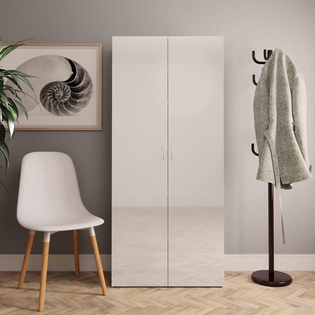 vidaXL Pantofar, alb foarte lucios, 80 x 35,5 x 180 cm, PAL poza 2021 vidaXL