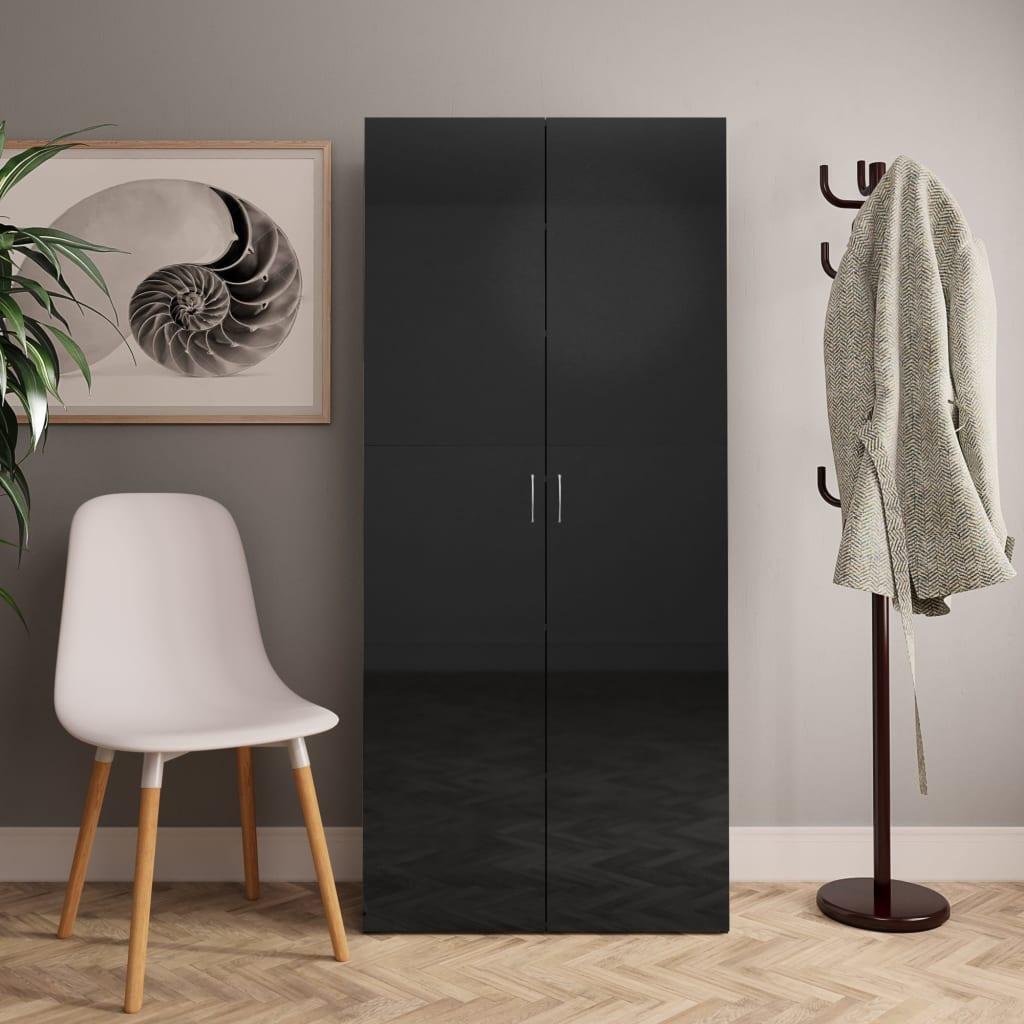 vidaXL Pantofar, negru foarte lucios, 80 x 35,5 x 180 cm, PAL vidaxl.ro