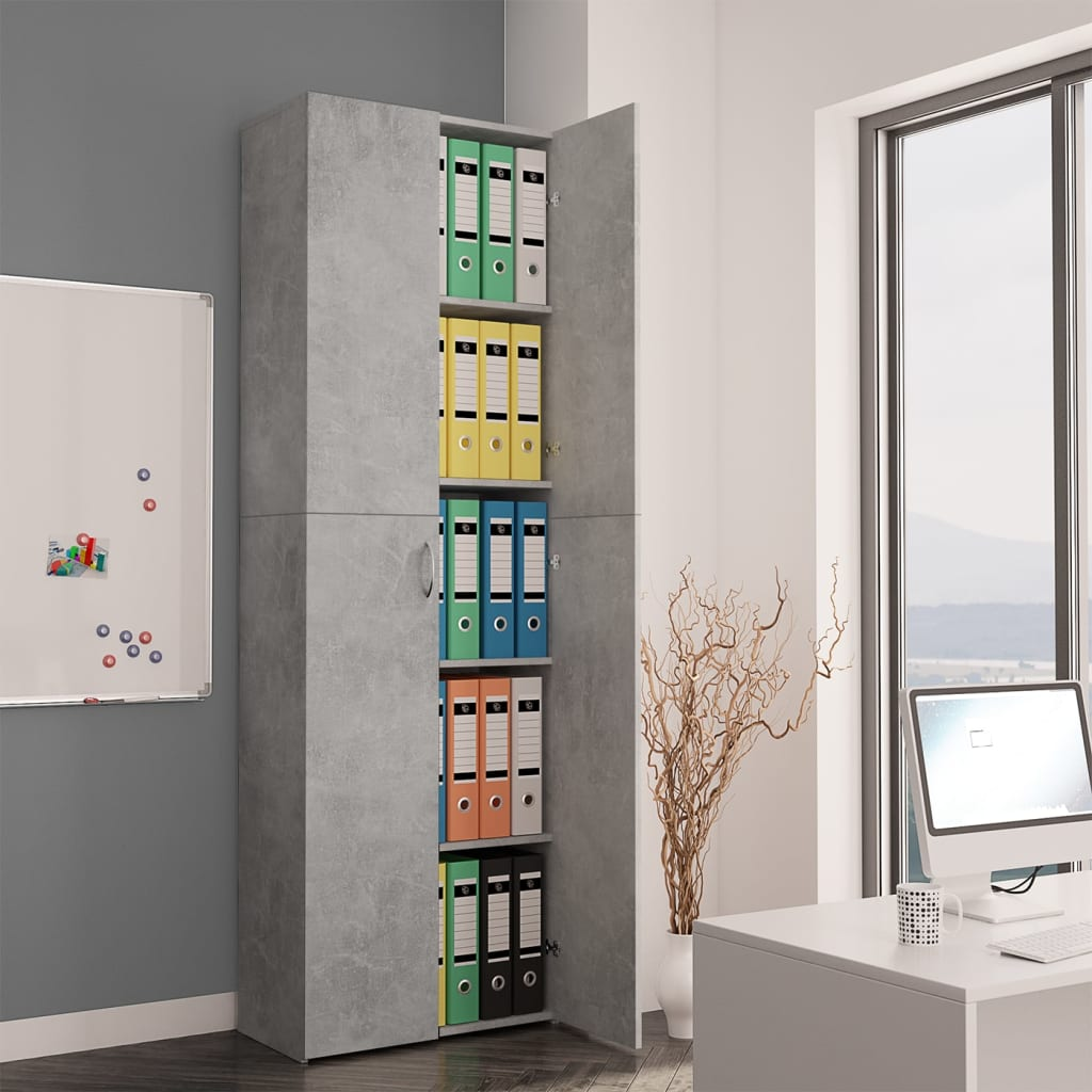vidaXL Dulap de birou, gri beton, 60x32x190 cm, PAL imagine vidaxl.ro