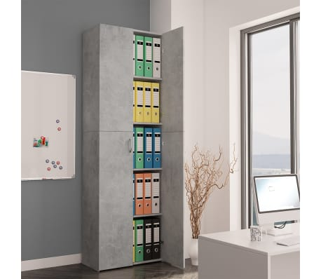 vidaXL Armoire de bureau Gris cement 60x32x190 cm Aggloméré[1/8]